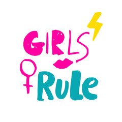 Girls rule. Hand drawn lettering with pink lipstick kiss, lightning and female gender sign mirror of Venus. Vector illustration