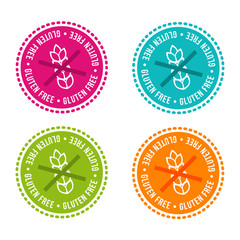 Wall Mural - Set of Allergen free Badges. Gluten free. Vector hand drawn Signs. Can be used for packaging Design.