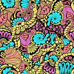 Seamless colorful  pattern   in a zentangle style.  Hand-drawn illustration . Vector background for textile, print, wallpapers, wrapping.