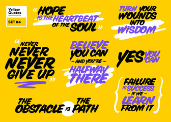 Vector Set of Short Positive Quotes. Motivational Cards with Handwriting Brush Typography. Short Messages about Success, Life, Happy, Achievement. Inspirational Sayings. Never Give Up, Yes You Can.