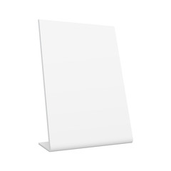 White blank pos stand banner - 3/4 left view. Mockup is especially useful for presenting your design ideas. Vector illustration