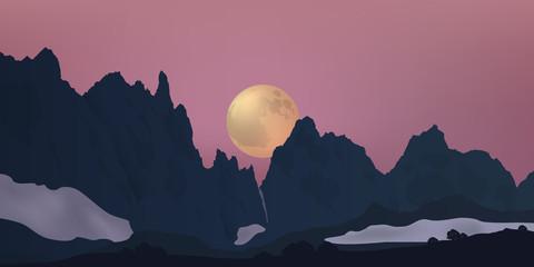 paysage, montagne - lune - clair de lune - aube - Alpes - lever du jour - chaine de montagne
