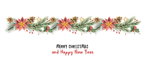 Watercolor vector Christmas banner with fir branches and flower poinsettias.
