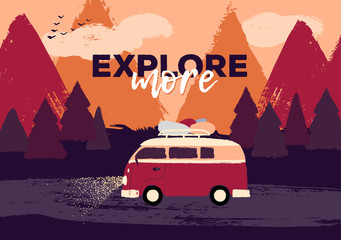 Vector flat retro illustration of a friend or family road trip on the hippie van through the dark night forest. Motivational quote about exploring. Fir trees and mountains on the background. Sunset