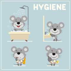 Collection of isolated mouse in cartoon style for rules of child hygiene. Set of funny mouse is hygiene: showering, washing hands, brushing her teeth.