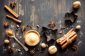 Christmas background with spices