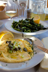Greek Fava, yellow split peas puree and salad with greens, greek khorta - Dodecanese Islands