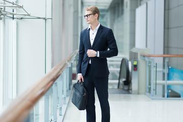 business man confident standing full suit ,business success concept.