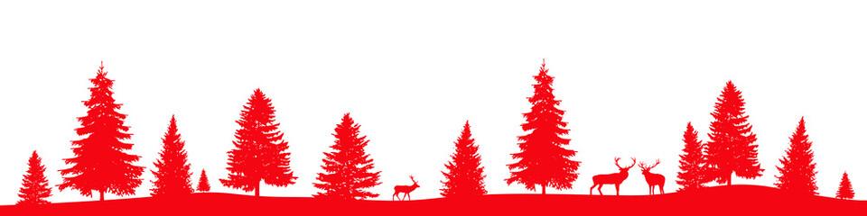 Paysage avec sapins et rennes