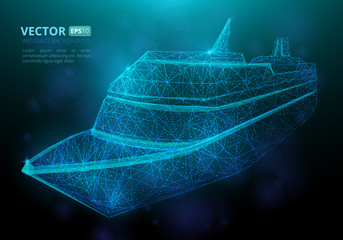 Abstract polygonal marine ship or boat with texture of starry sky. Vector illustration consisting of polygons, points and lines isolated on dark blue background