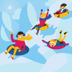 Square vector illustration. Happy family tubing down the hill. Excited mom and dad, lovely kids.