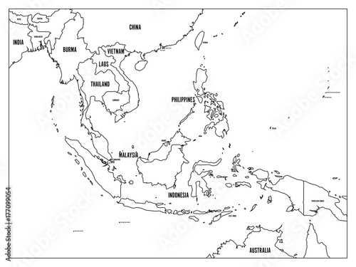 South East Asia political map. Black outline on white background ...