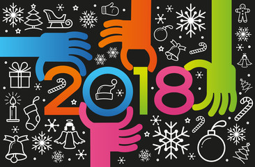 Vector Happy New Year background. Color design with numeral 2018, christmas icons, people's hands and circles.  The file is saved in the version 10 EPS. This image contains transparency.