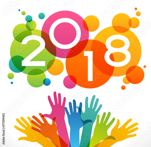 Vector 2018 happy new year background color design with numeral vector 2018 happy new year background color design with numeral 2018 peoples hands and voltagebd Images