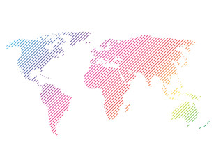 Wall Mural - Hatched map of world in rainbow spectrum colors. Striped design vector illustration on white background.
