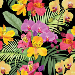 Tropical alstroemeria lily and orchid flowers seamless pattern with leaf on black background. Vector set of exotic tropical garden for wedding invitations, greeting card and fashion design.