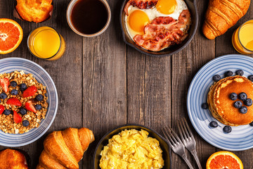 Delicious breakfast on a rustic table.