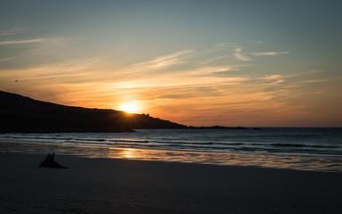 Porthmeor beach sunset, St. Ives, Cornwall, England