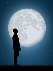 man look the moon