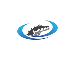 Crocodile head logo design vector