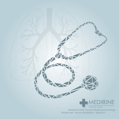 Human heart and lungs icon. Phonendoscope. Vector illustration.