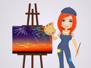 woman paints fireworks