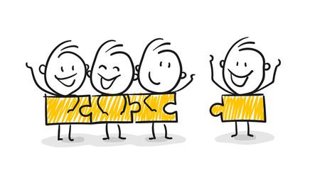 Strichfiguren / Strichmännchen: . Mitglieder, Teamwork, Familie, Puzzle. (Nr. 142)