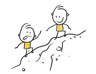 Strichfiguren / Strichmännchen: . Bergsteigen, klettern, Verbindung. (Nr. 137)
