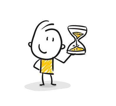 Strichfiguren / Strichmännchen: Sanduhr, warten, Countdown. (Nr. 136)
