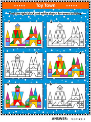 Visual puzzle: Find the right black and white sketch for every colorful picture of toy town building. Answer included.
