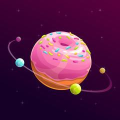 Donut planet. Fantasy space illustration.
