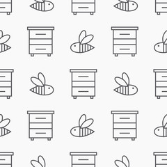 Beekeeping seamless pattern