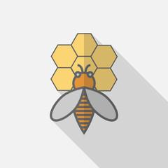 Bee honey flat icon