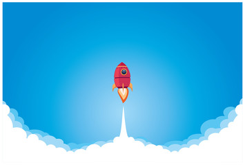 business concept, startup. vector illustration. rocket takes off on a blue background