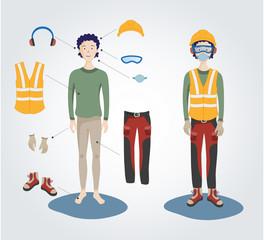 Un lavoratore indossa dispositivi di protezione individuale per la salute e sicurezza sul lavoro.