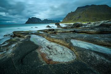Wall Mural - Uttakleiv beach on Lofoten islands in Norway