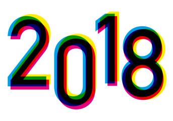 2018 - année - carte de vœux - présentation - couleurs - imprimeur - coloré - énergie