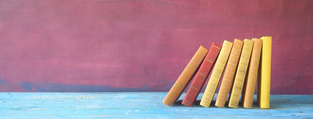 row of books, panorama, free copy space