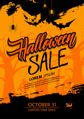 Halloween Sale special offer banner with hand drawn lettering, brush stroke and traditional holiday spooky symbols. Vector illustration.