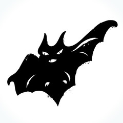 Hand drawn picture of bat silhouette isolated on white background. Template for Halloween design. Vector illustration.