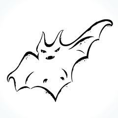 Hand drawn contour picture of bat silhouette isolated on white background. Template for Halloween design. Vector illustration.