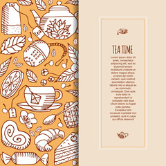 Vector illustration of a vertical banner with the concept of tea.