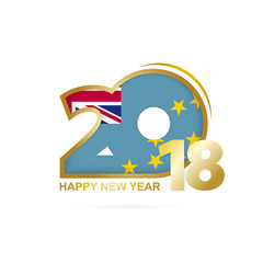 Year 2018 with Tuvalu Flag pattern. Happy New Year Design.