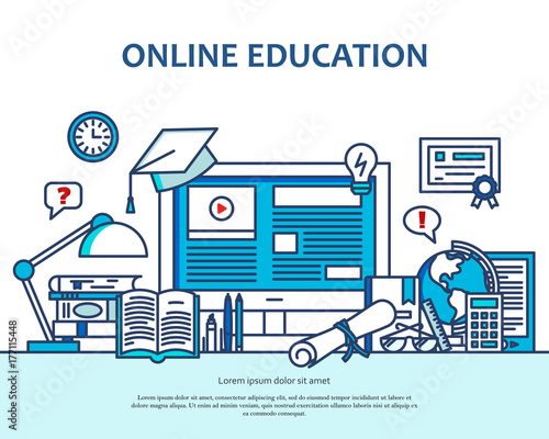 Online Education Concept With Learning And Teaching Icons School Vector Background Computer Banner