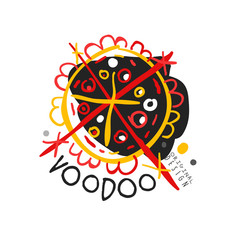 Voodoo African and American magic logo with circle and lines