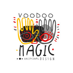 Voodoo African and American magic logo with hands and face