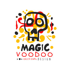 Voodoo African and American magic logo with mystic skull