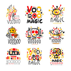 Voodoo African and American magic logo set