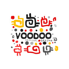 Voodoo African and American magic logo with abstract spiral patterns