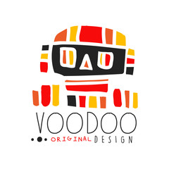 Voodoo African and American magic logo with abstract skull